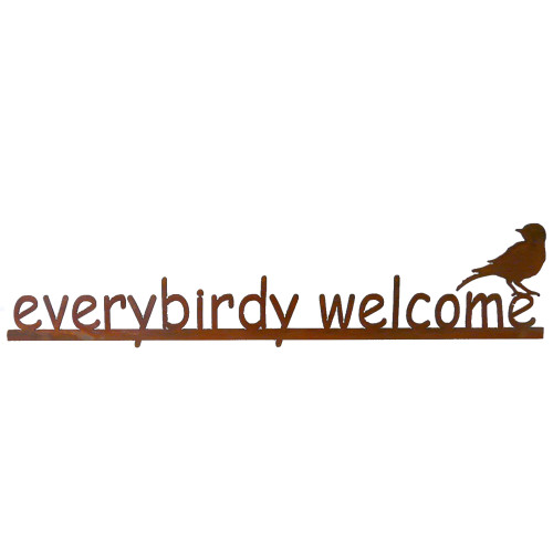Everybirdy Welcome Rusty Garden Sign