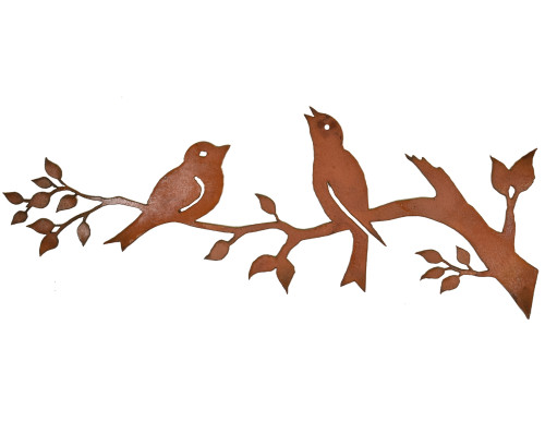 Songbirds on a Branch Rusty Metal Wall Hanging