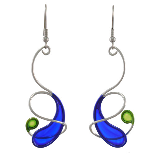 Kinetic Sculpture Inspired Earrings: Cobalt/Green Orbit