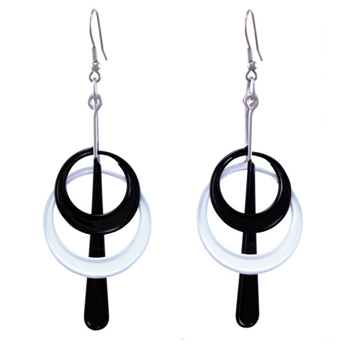 Kinetic Sculpture Inspired Earrings: Black + White Halo