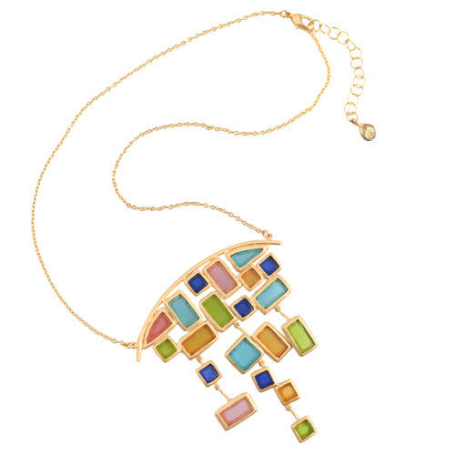Artisan Glass & Gold Plate Mosaic Statement Necklace