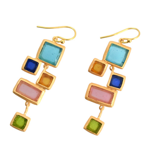 Artisan Glass & Gold Plate Mosaic Earrings