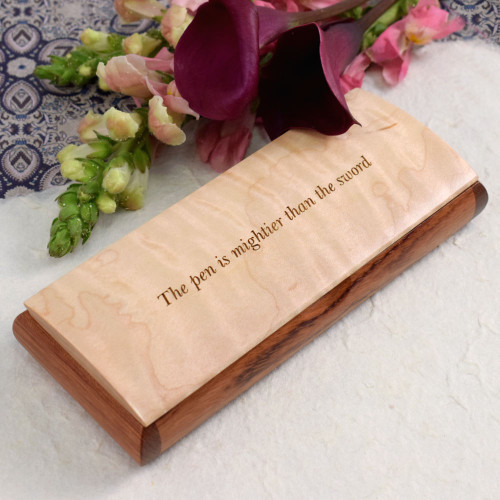 Handmade Natural Wood Desktop Pen Box with Quote