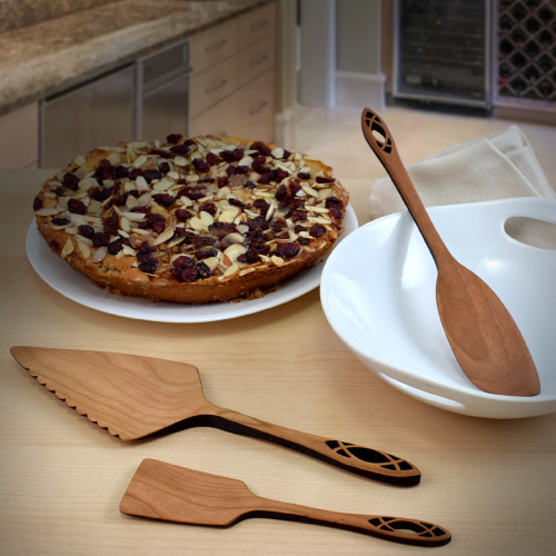 Wild Cherry Wood Dessert Utensils Set, Cathedral Collection