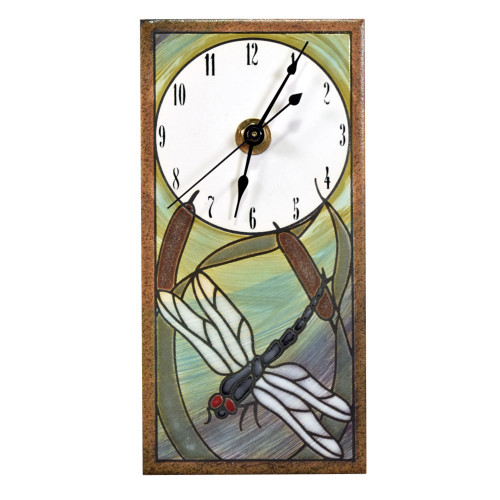 Mini Ceramic Wall Clock: Dragonfly in Reeds