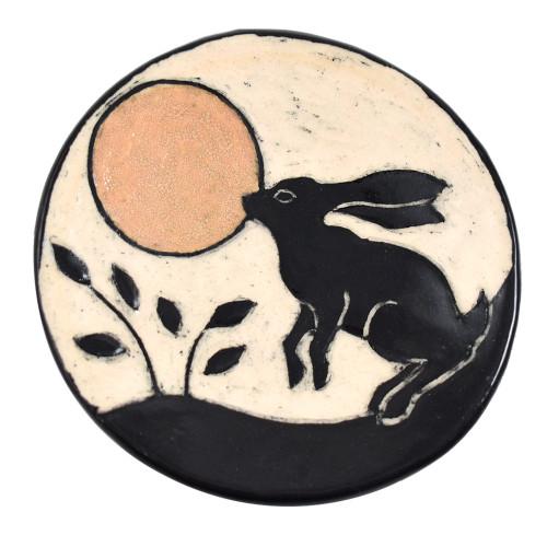 """Sgraffito Pottery Moon Bunny 4"""" Ring Dish"""