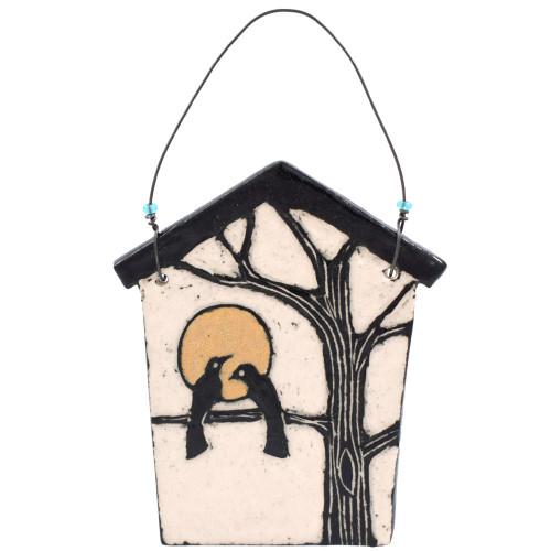 Sgraffito Pottery Lovebirds Ornament