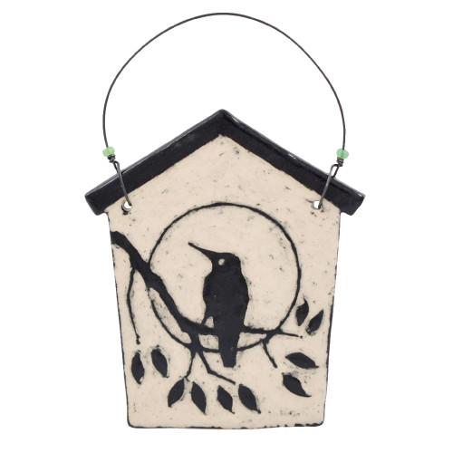 Sgraffito Pottery Hummingbird Ornament