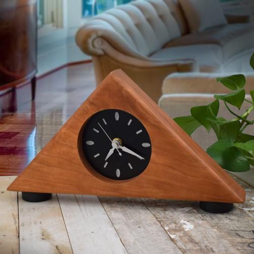 Triangular Cherry Wood Mantel Clock
