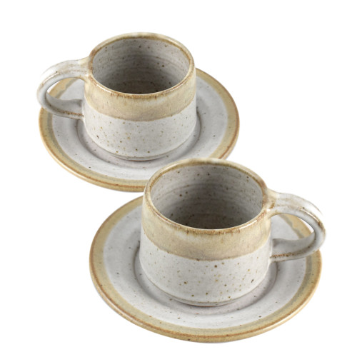 Simply Modern Pottery Collection: 8-oz Tea/Coffee Cups in Vanilla Wisp (Set of 2)