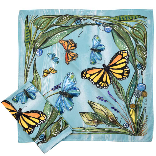 Monarch Butterfly Art Microfiber Table Napkins (Set of 2)