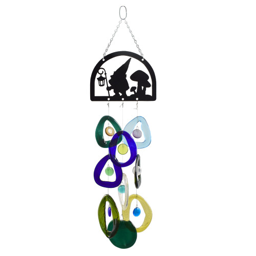 Hiking Gnome Recycled Glass Bottle Wind Chime
