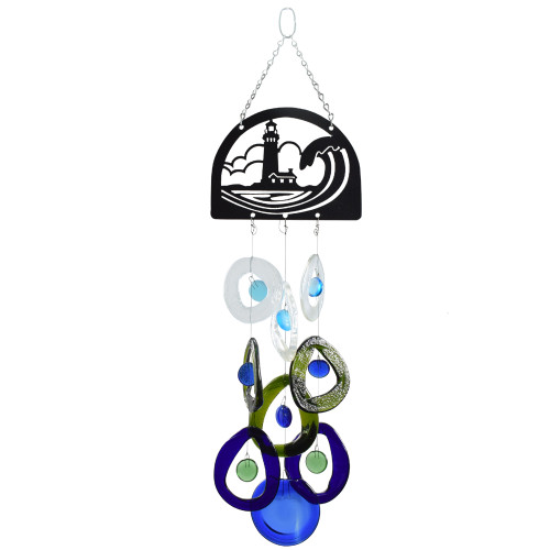 Nautical Lighthouse Recycled Glass Bottle Wind Chime