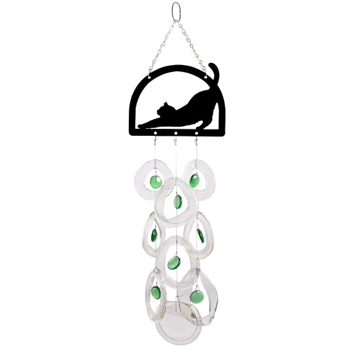 Stretching Cat Recycled Glass Bottle Wind Chime