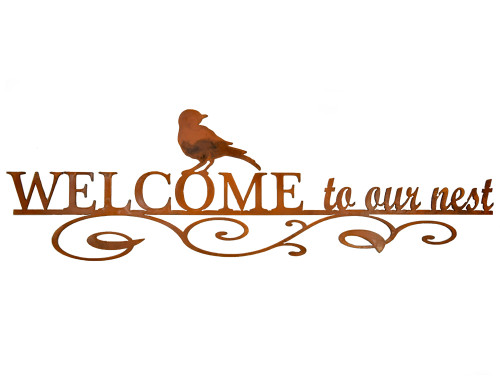 Welcome to Our Nest Rusty Garden Sign