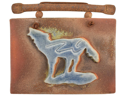 Southwestern Salt-Flash Art Tile: Howling Wolf