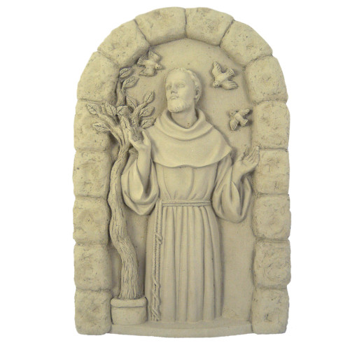 St Francis Cast Stone Garden Wall Plaque