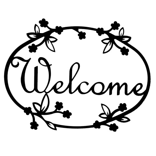 Script Iron Welcome Sign: Floral Design