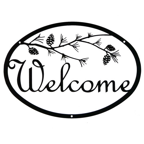 Script Iron Welcome Sign: Pine Branch