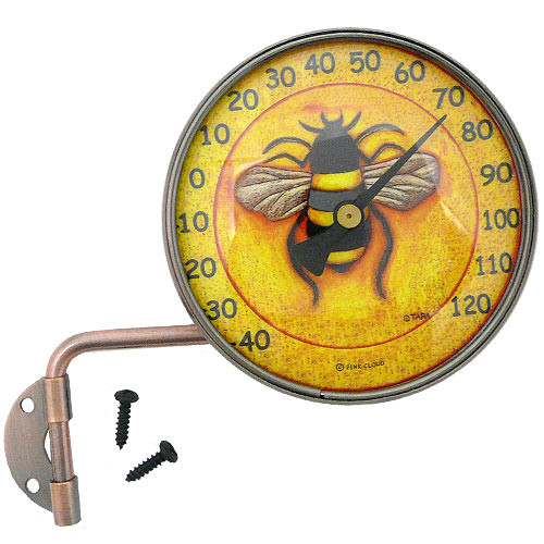 "Copper Dial 4"" Thermometer with Bee Art"