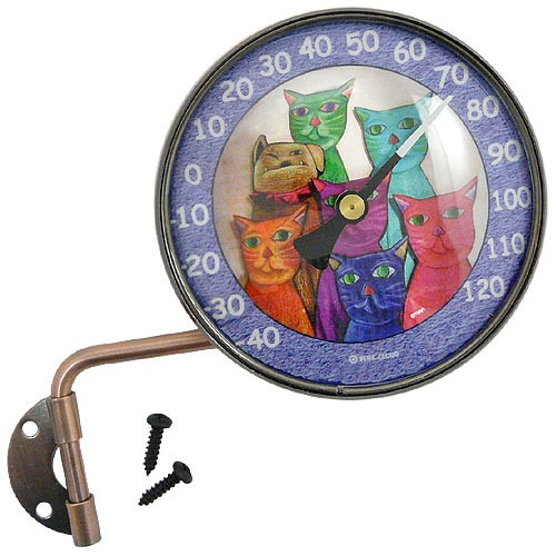 "Copper Dial 4"" Thermometer with Clowder of Cats Art"