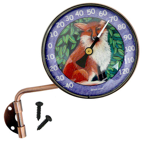 "Copper Dial 4"" Thermometer with Fox Art"