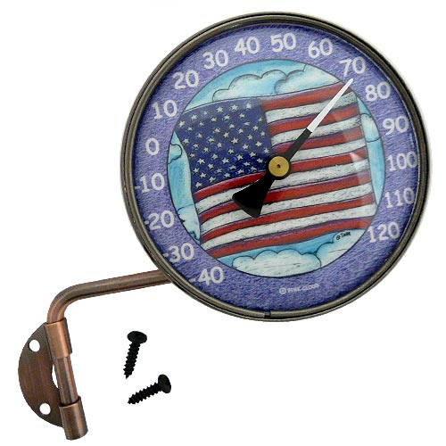"Copper Dial 4"" Thermometer with USA Flag Art"