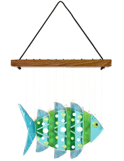 Fused Glass Fish Wind Chime: Tropical Turquoise