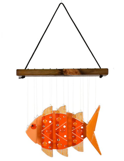 Fused Glass Fish Wind Chime: Goldfish