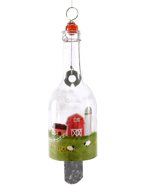 Hand-Painted Bottle Wind Chime - Barnyard Scene