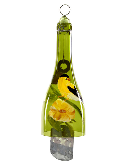 Hand-Painted Bottle Wind Chime - Goldfinch