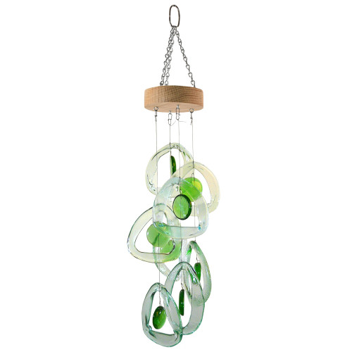 Recycled Glass Bottle Wind Chime: Emerald Spring