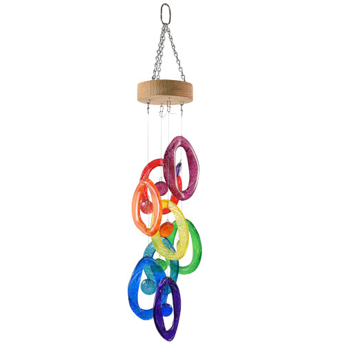 Recycled Glass Bottle Wind Chime: Rainbow