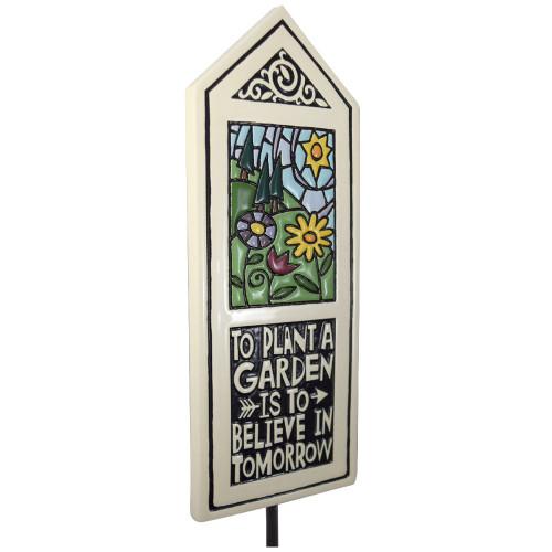 Ceramic Tile Garden Stake: Believe in Tomorrow