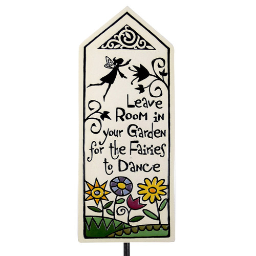 Ceramic Tile Garden Stake: Leave Room for Fairies