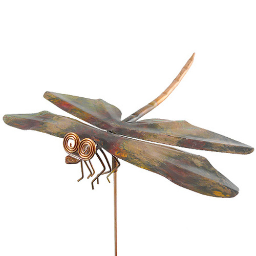 Copper Dragonfly Garden Stake