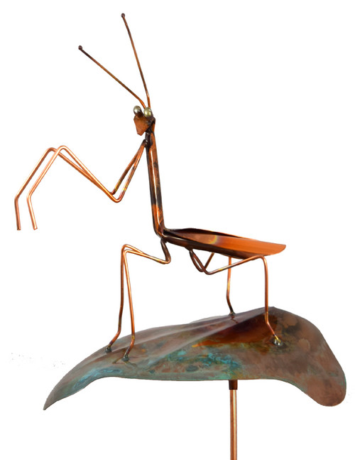 Copper Praying Mantis Garden Stake