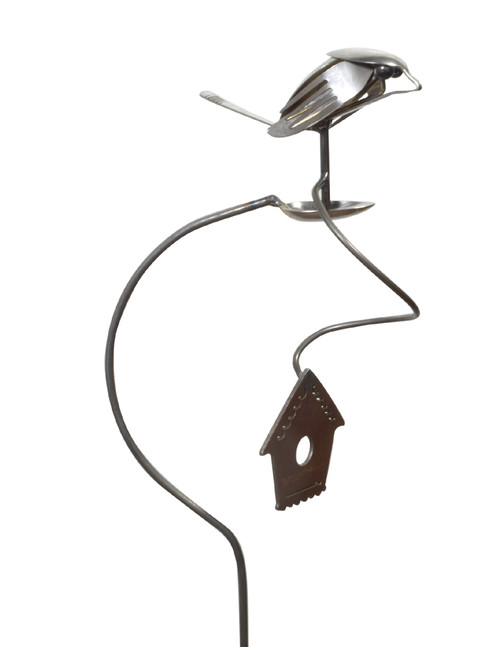 Flatware Finch Balancing Garden Stake