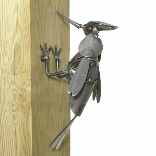 Metal Garden Woodpecker Sculpture
