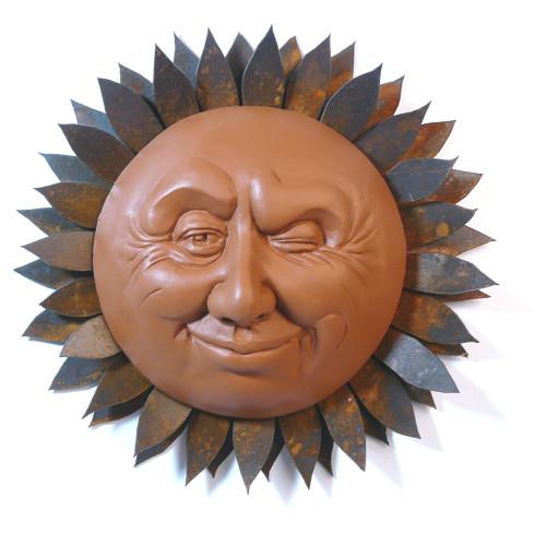 Winking Sun Face Sculpture