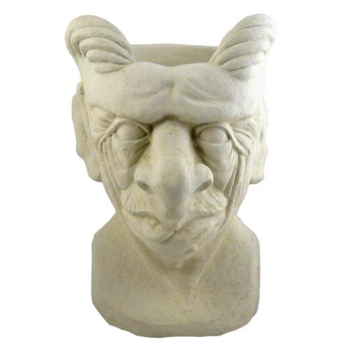 Gargoyle Cast Stone Head Planter