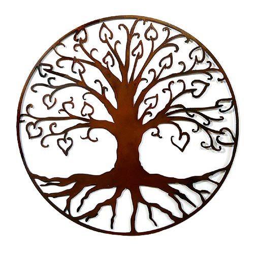 Tree of Life with Hearts Outdoor Wall Art