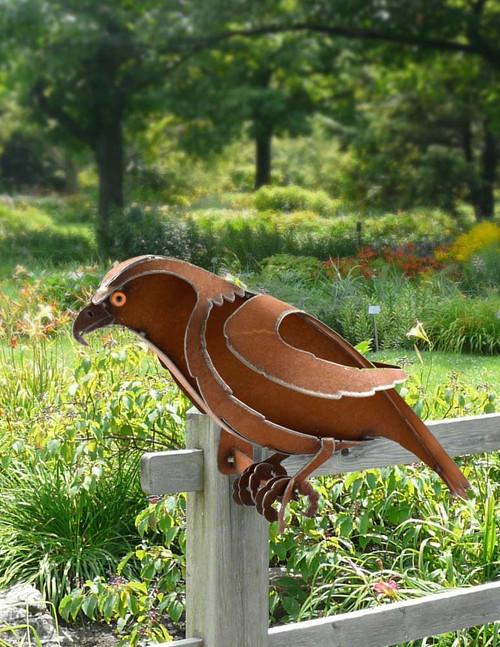 Metal Hawk Garden Sculpture