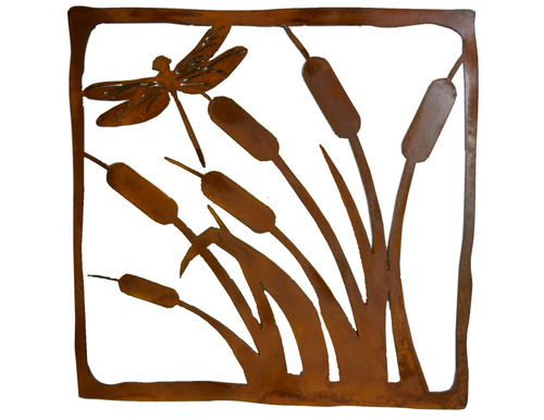 Dragonfly in Cattails Rusted Metal Wall Hanging