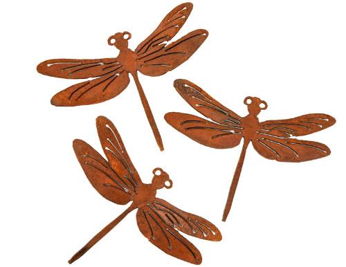 Rust Metal Dragonflies Outdoor Wall Set