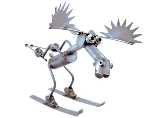 Skiing Moose Metal Sculpture