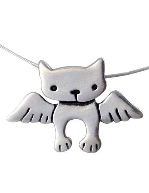 Angel Cat Sterling Silver Charm Necklace