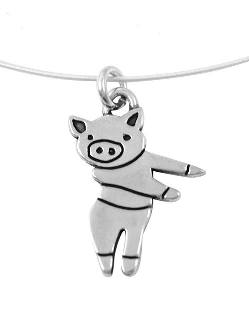 Dancing Pig Sterling Silver Charm Necklace