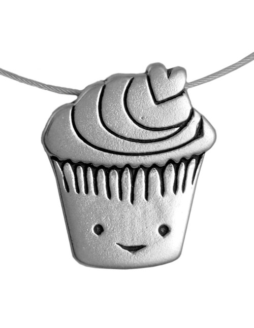 Love Muffin Sterling Silver Charm Necklace