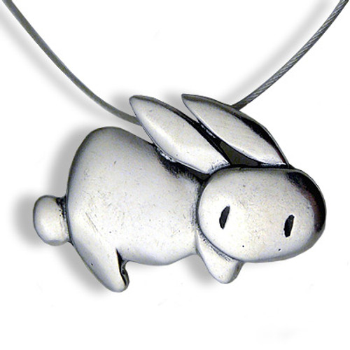 Love Bunny Sterling Silver Charm Necklace